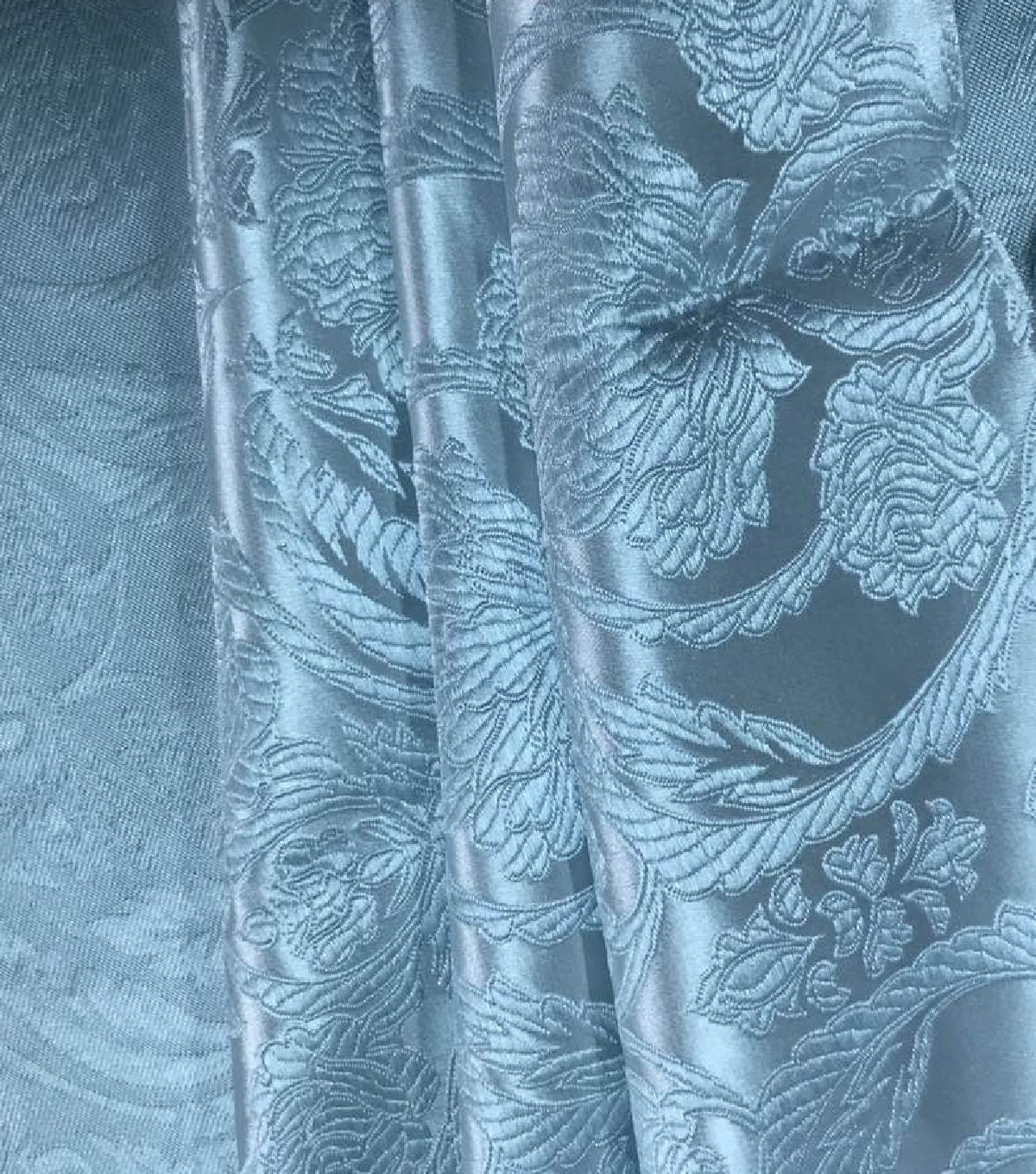 Brocade Fabric 45\u0027\u0027-Small Damask on Whispering Blue
