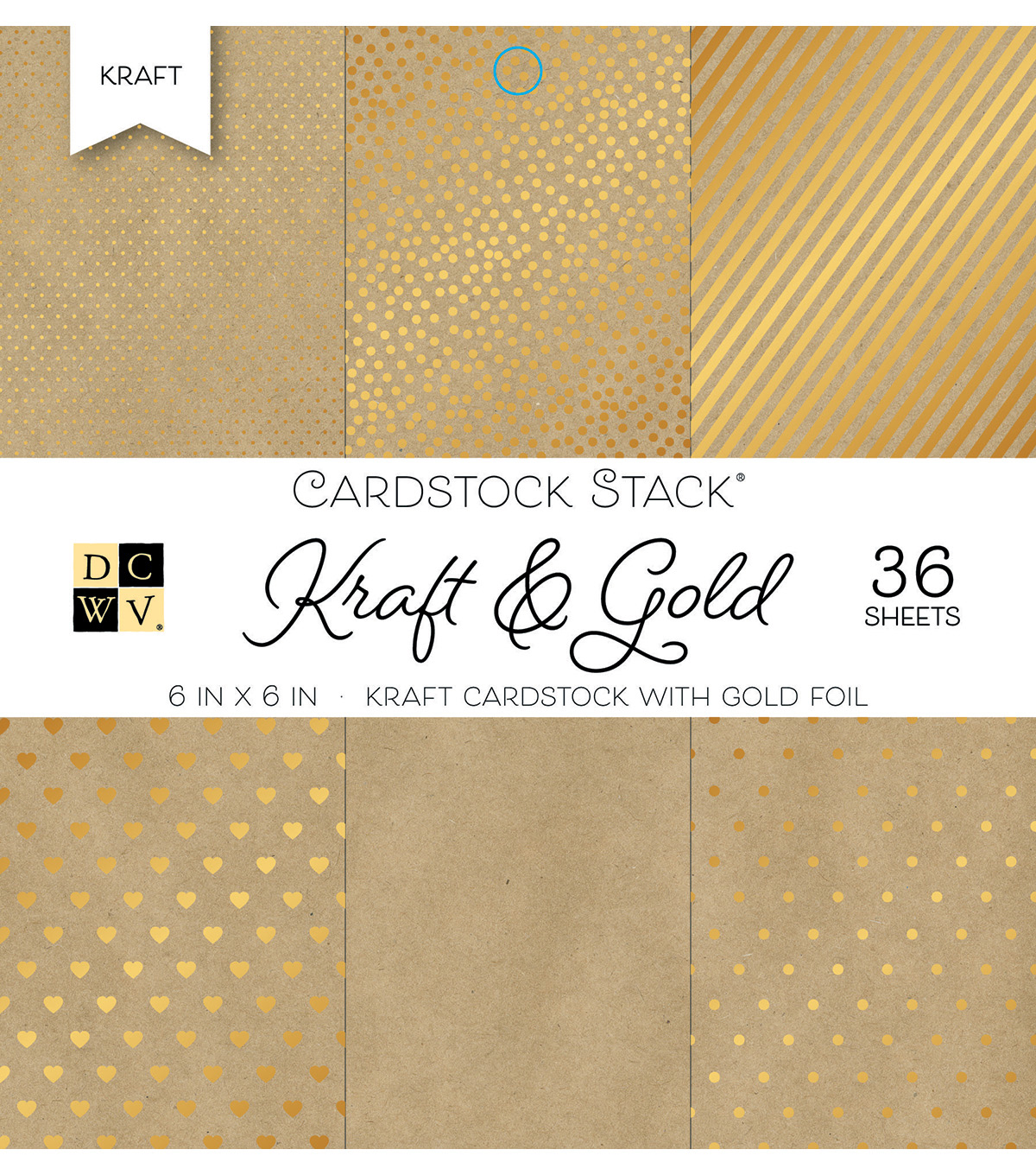 DCWV Pack of 36 6\u0027\u0027x6\u0027\u0027 Cardstock Stack-Kraft & Gold
