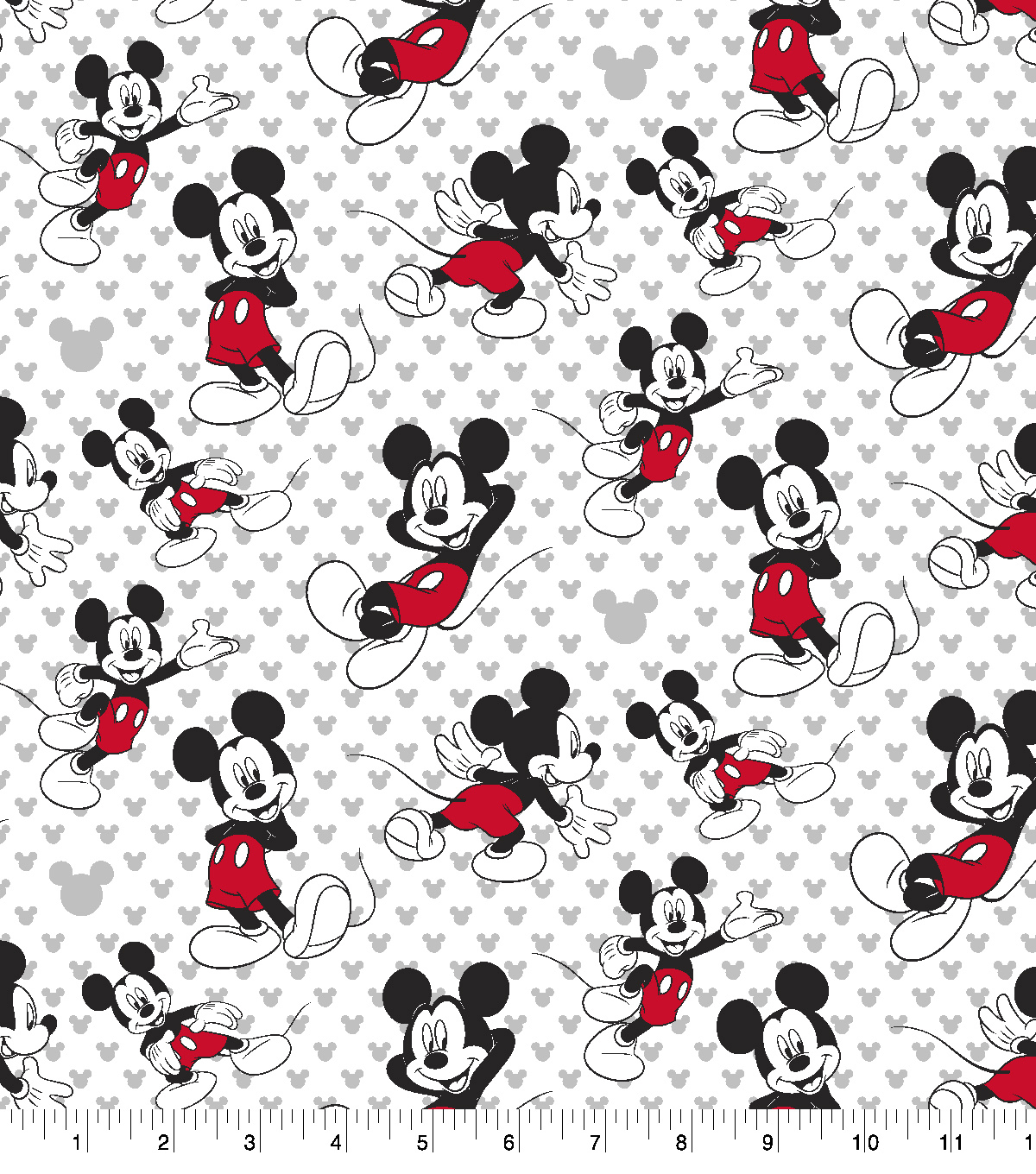 Disney Mickey Mouse Cotton Fabric -Totally Mickey Toss