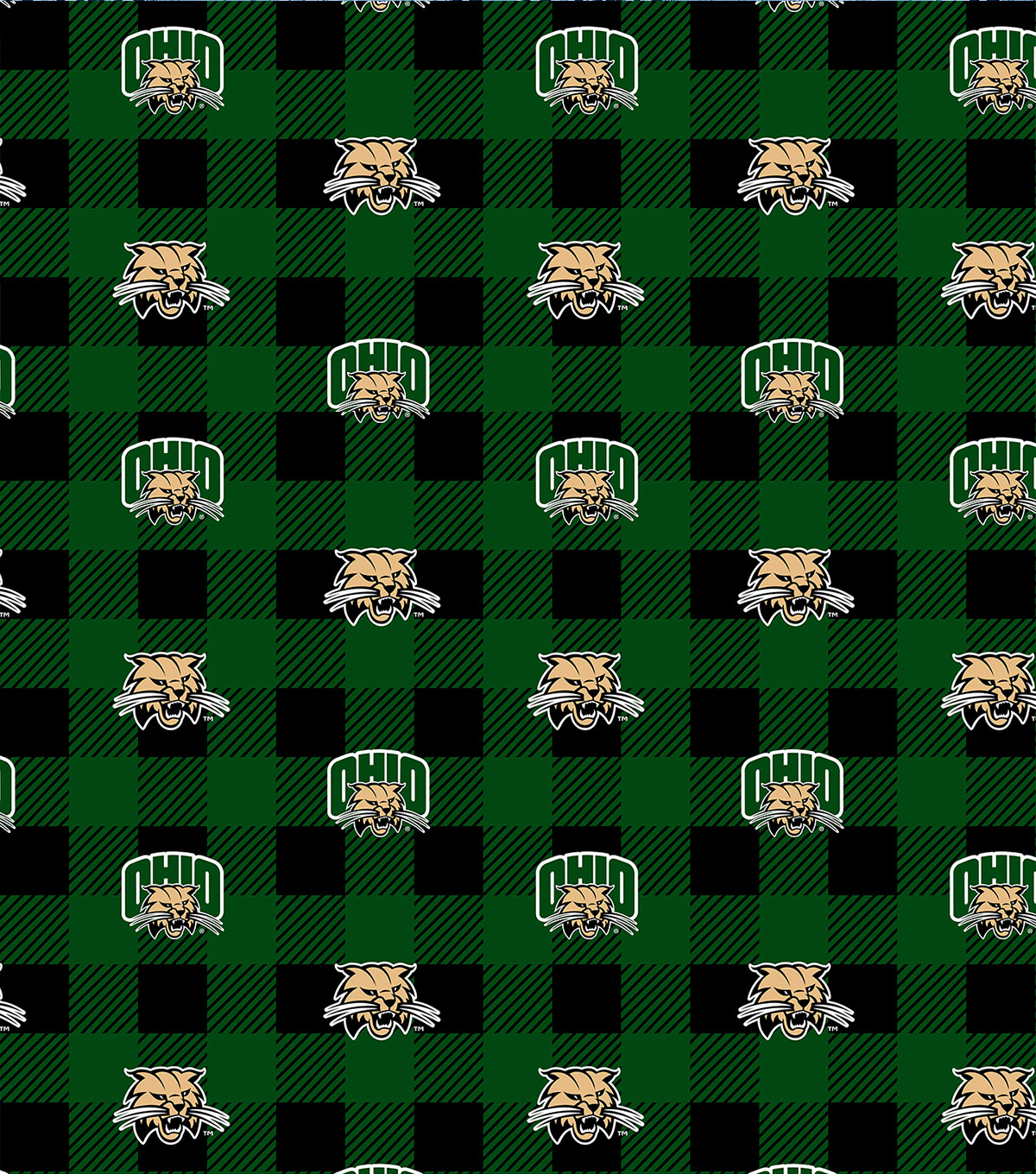 Ohio University Bobcats Fleece Fabric-Buffalo Plaid