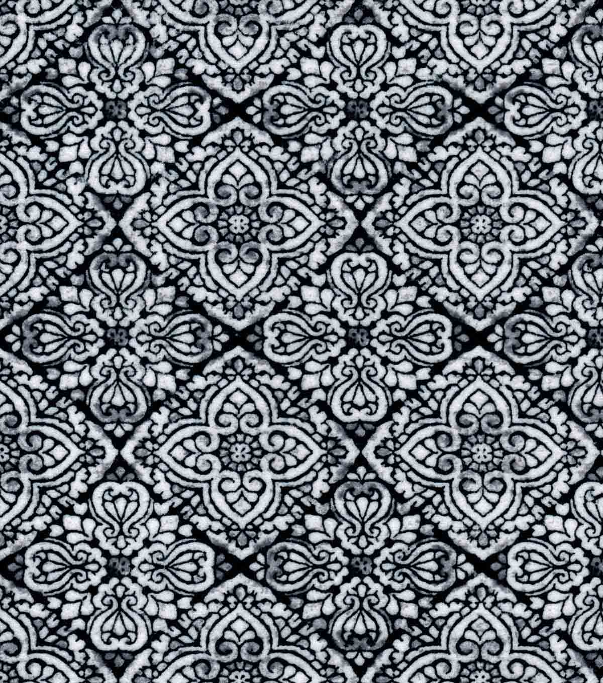 Luxe Flannel Fabric -Culture Stamp Black & White