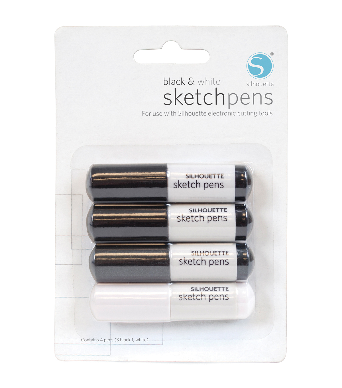 Silhouette Sketch Pens 4/Pkg-3 Black, 1 White