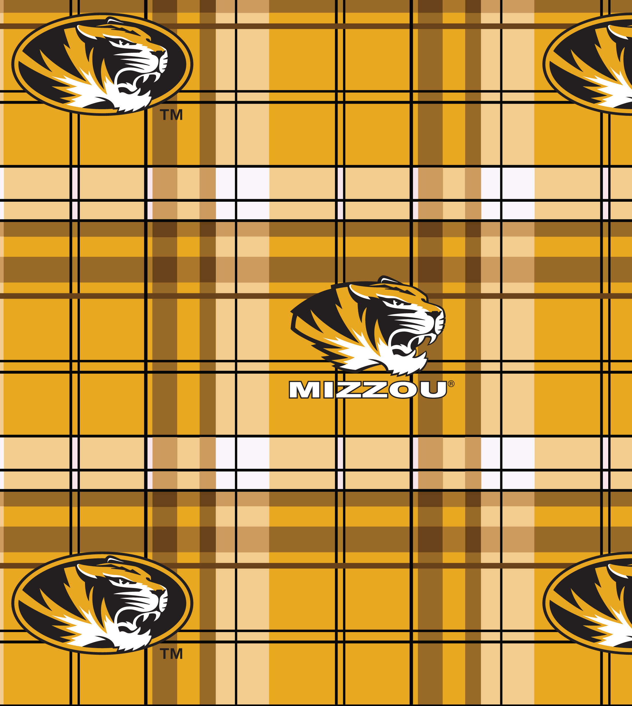 University of Missouri Tigers Fleece Fabric -Plaid
