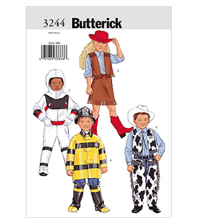 Butterick Pattern B3244 Childrens\u0027 Space, Rodeo & Fire Fighter Costumes, Sizes 2-3-4-5