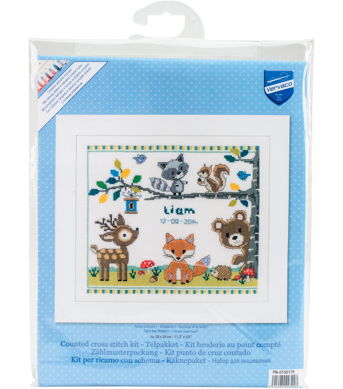 Forest Animals Birth Record On Aida Counted Cross Stitch Kit
