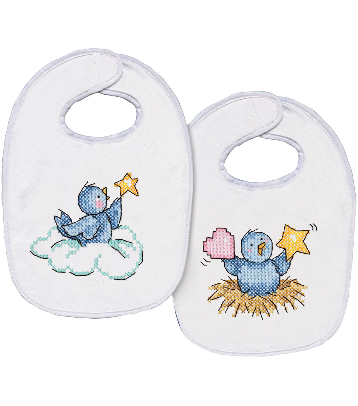 Tobin Balloon Ride stamped-cross-stitch Kit Bib Pair