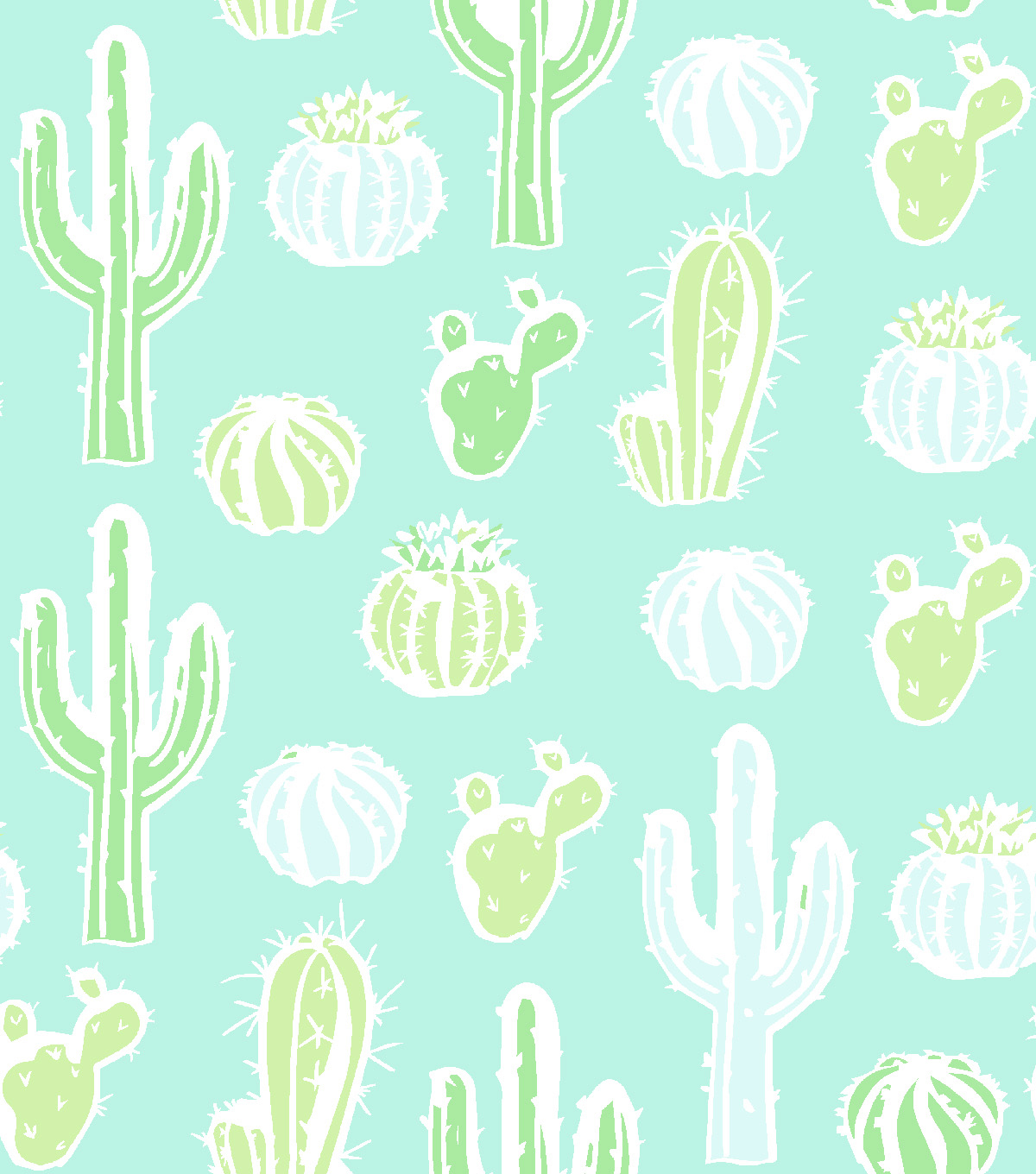 Snuggle Flannel Fabric 42\u0022-Cacti On Aqua