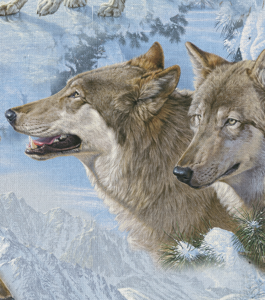 Novelty Cotton Fabric 44\u0022-Wolves In The Snow
