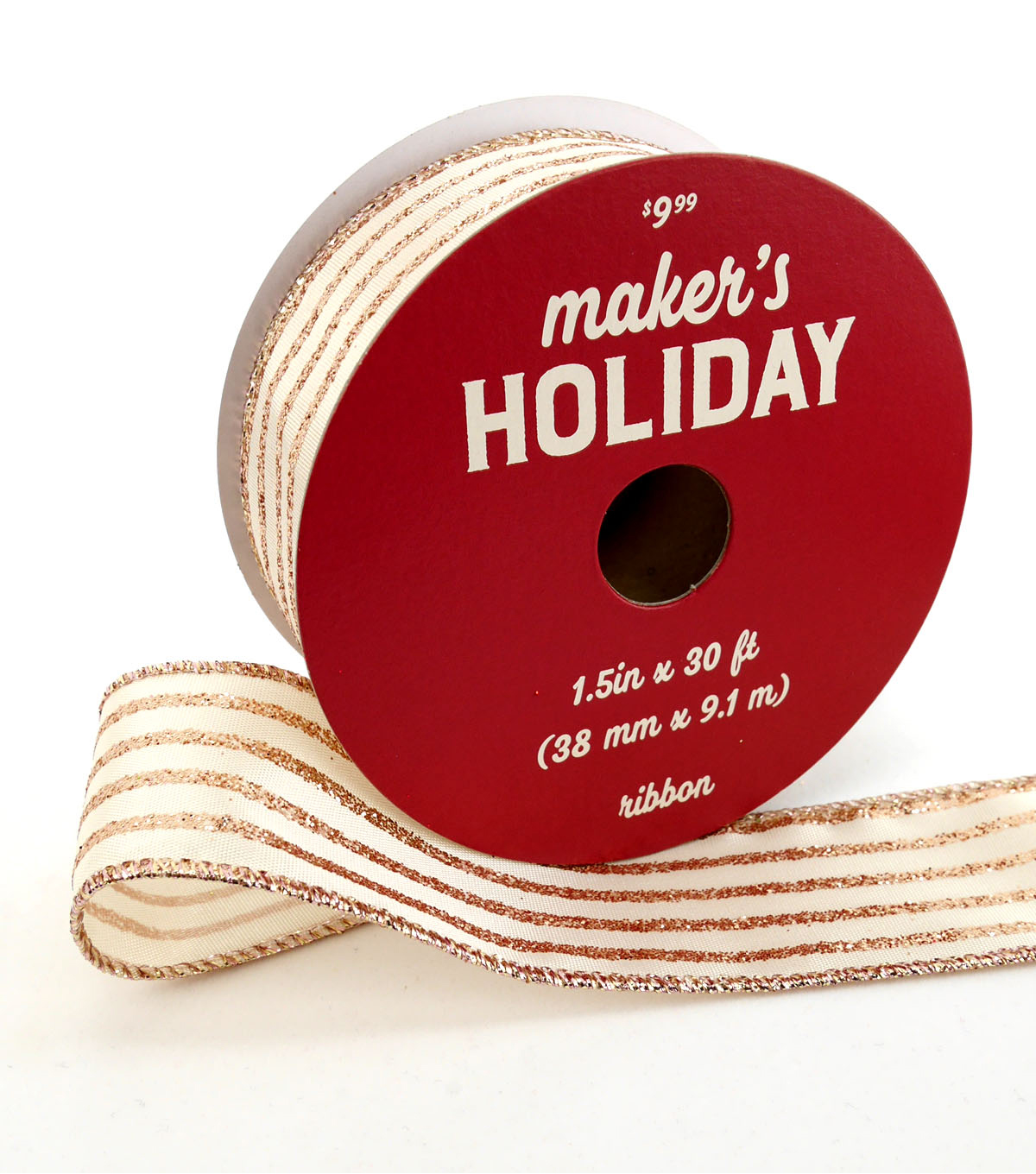 Maker\u0027s Holiday Ribbon 1.5\u0027\u0027x30\u0027-Rose Gold Glitter & Ivory Stripes