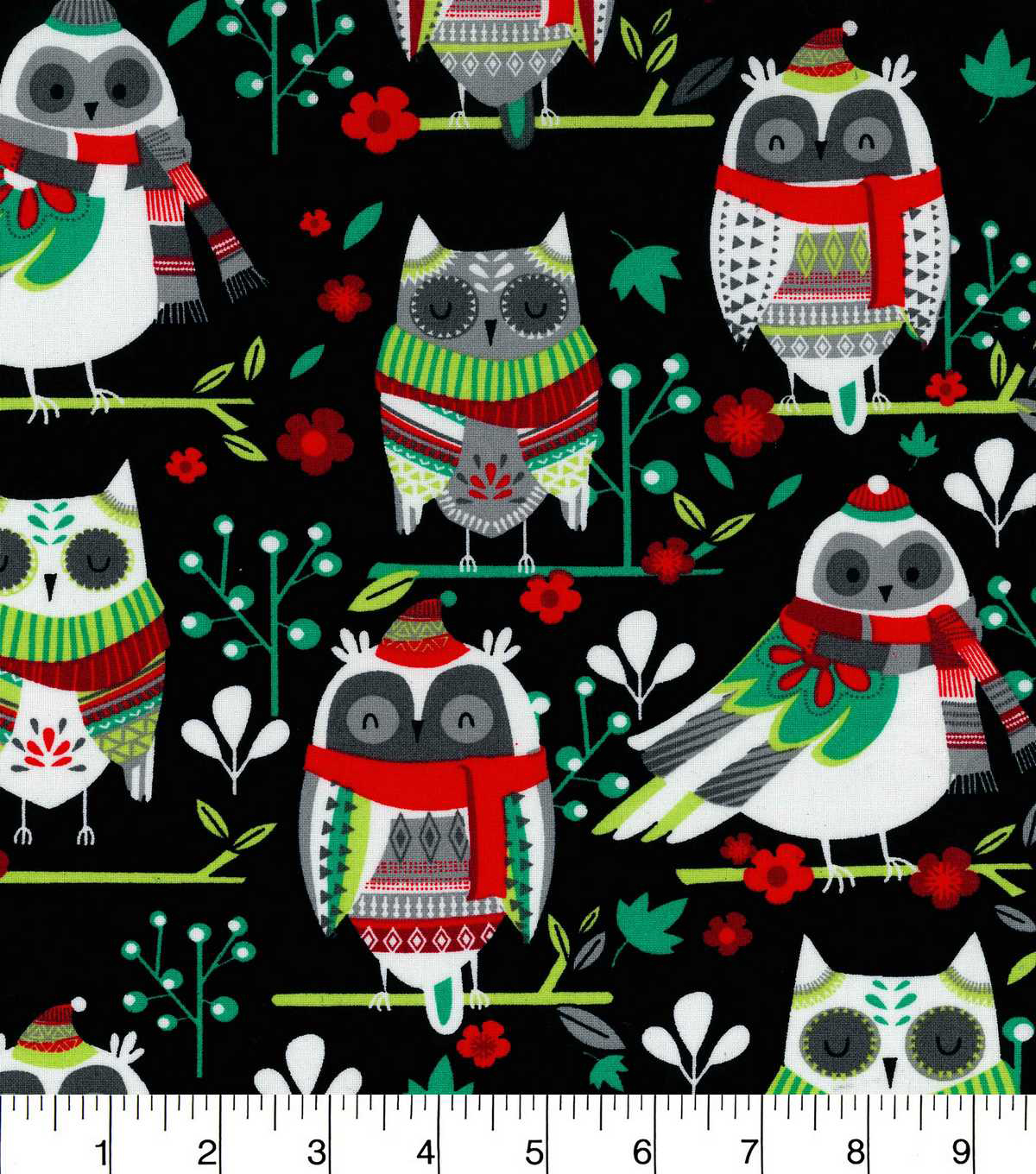 Christmas Cotton Fabric-Winter Owls
