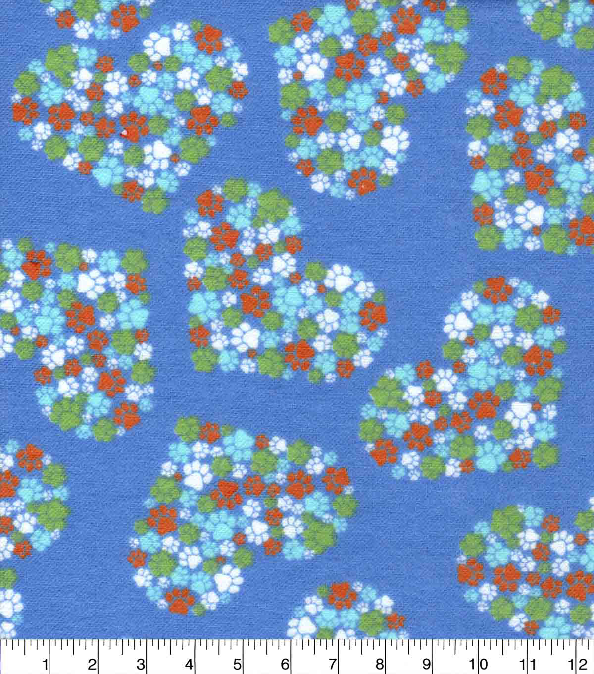 Snuggle Flannel Fabric-Heart Paw Cluster on Blue