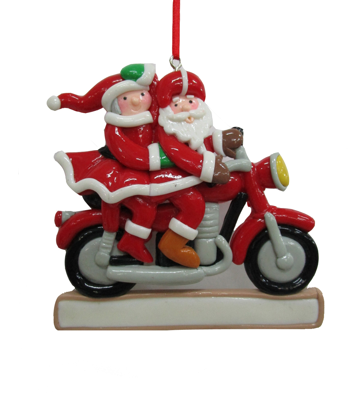 Maker\u0027s Holiday Christmas Mr. & Mrs. Clause on Motorcycle Ornament