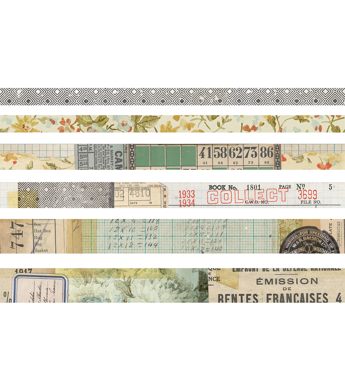 Tim Holtz Idea-ology 6 pk Design Tapes-Collector