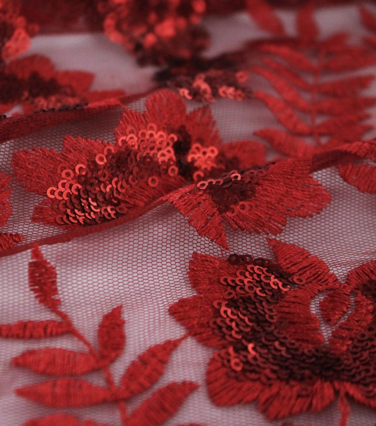 Sequin Mesh Fabric-Tango Red Embroidered Leaves