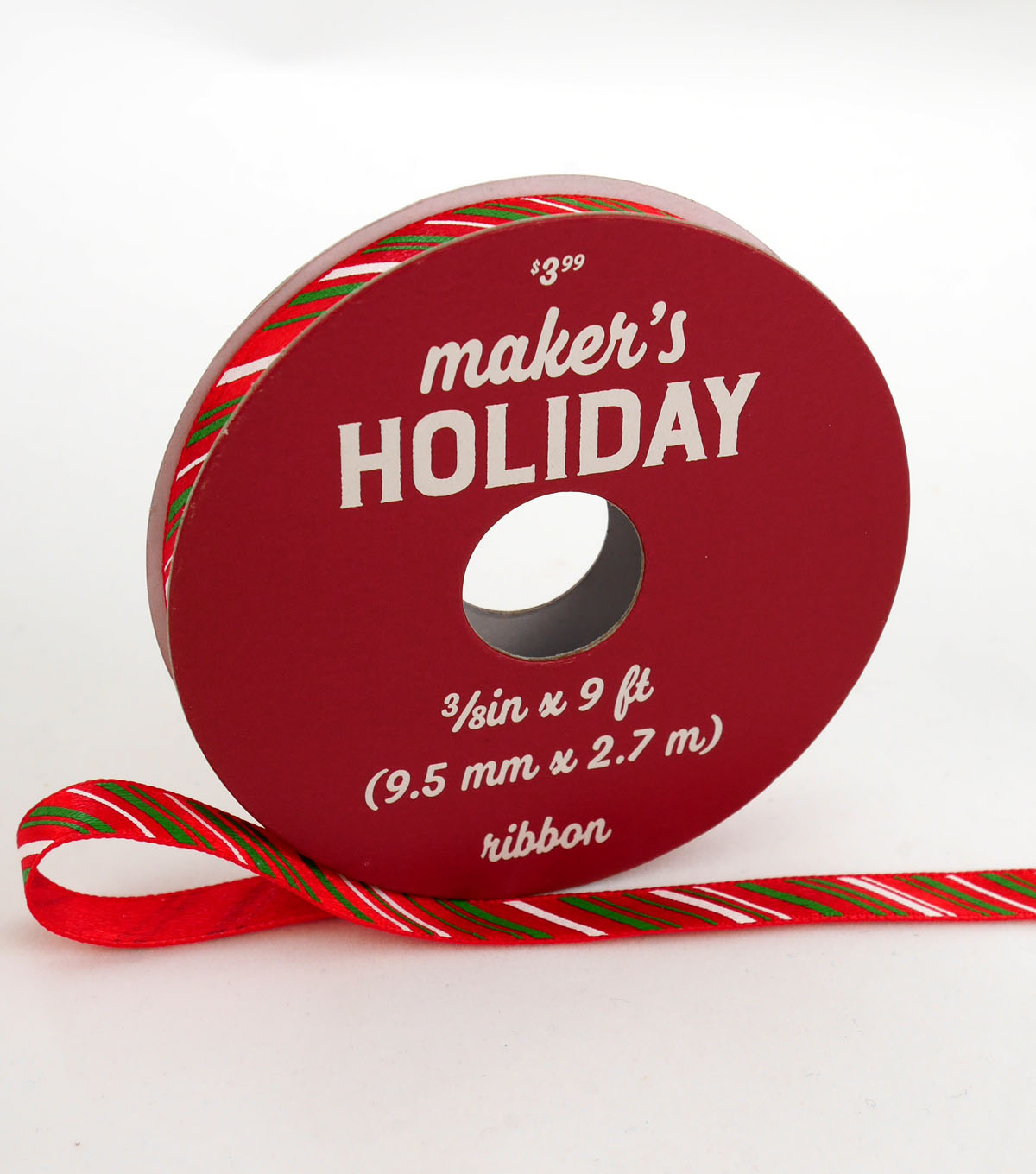 Maker\u0027s Holiday Christmas Ribbon 3/8\u0027\u0027x9\u0027-Green & White Candy Stripes