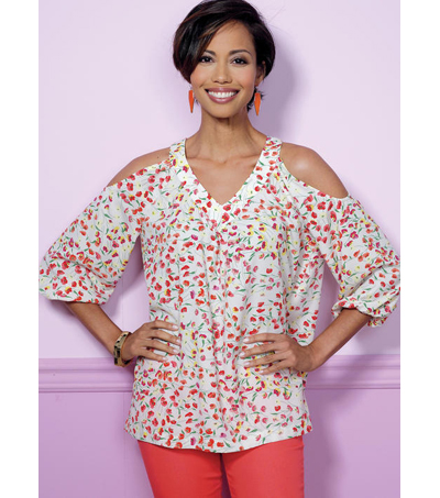 Butterick Pattern B6457 Misses\u0027 V-Neck or Scoopneck Tops-Size 6-14