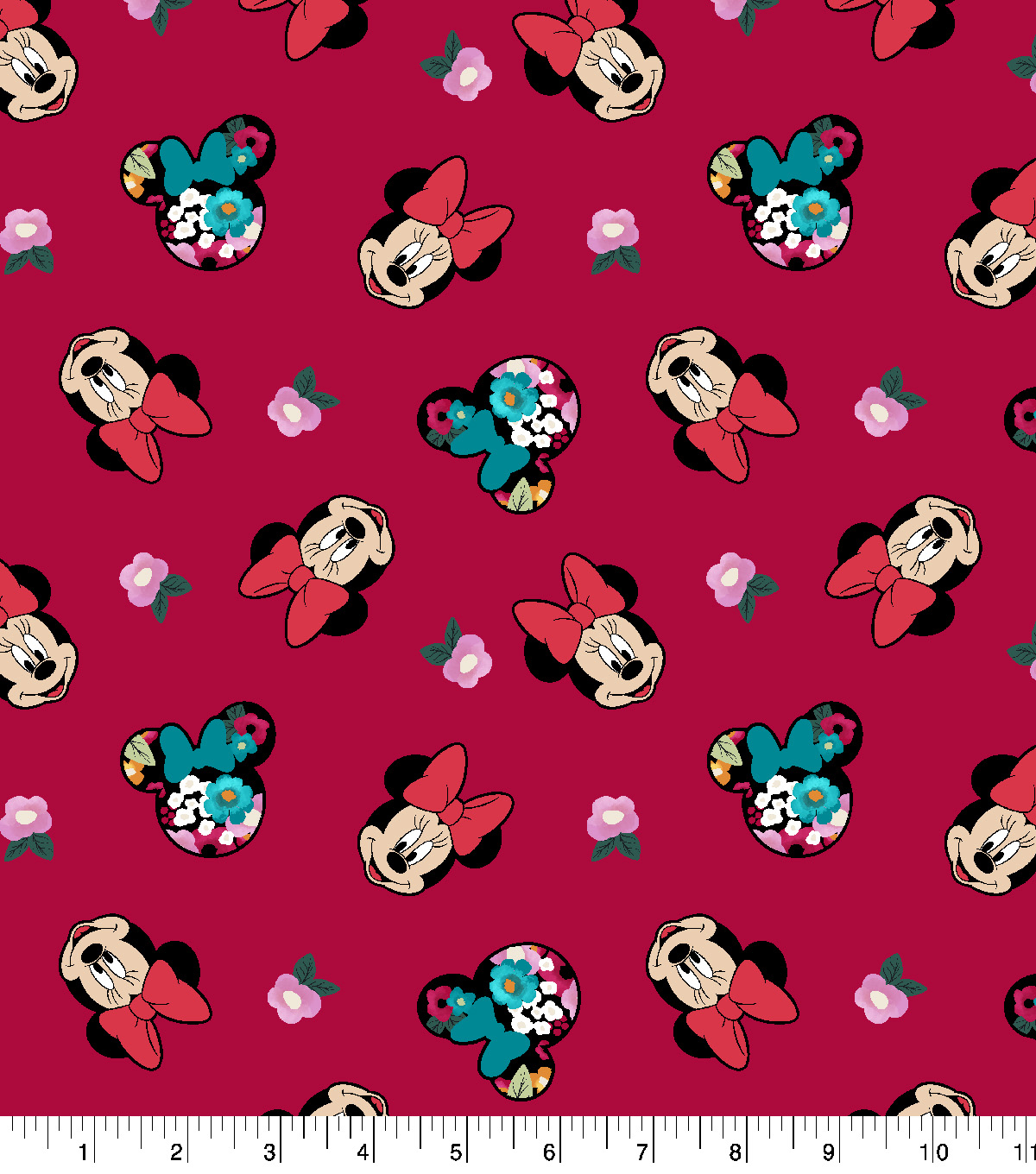 Disney Minnie Mouse Cotton Fabric -Head Toss