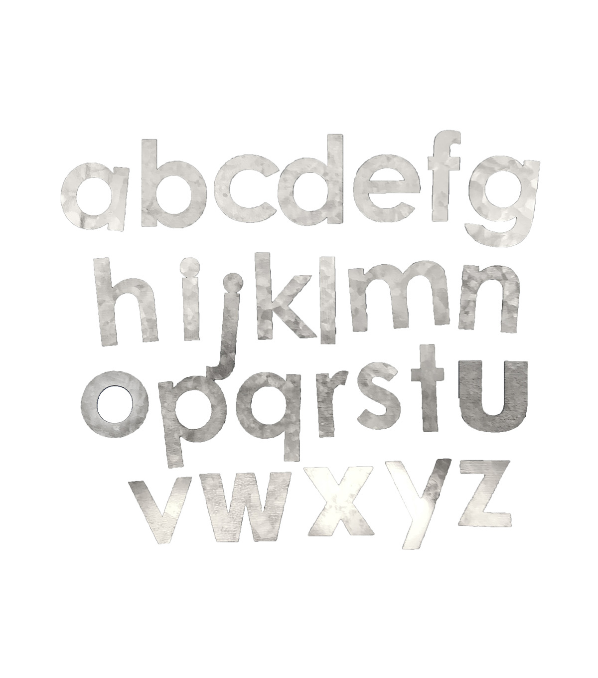 Fab Lab Craft 36 pk Galvanized Lowercase Alphabet Letters