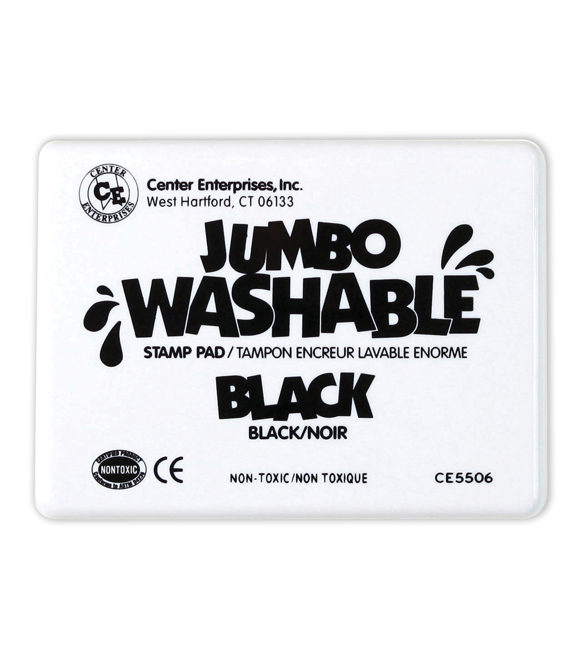 Center Enterprises Jumbo Washable Unscented Stamp Pad, Black, Pack of 2