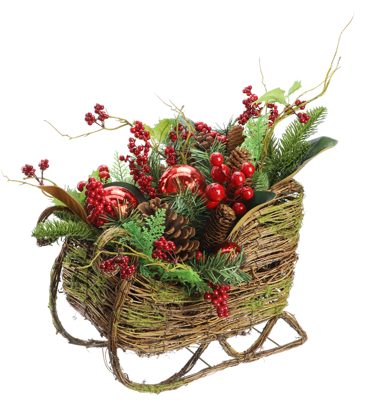 Handmade Holiday Christmas Berry, Pinecone & Ball Arrangement in Sleigh