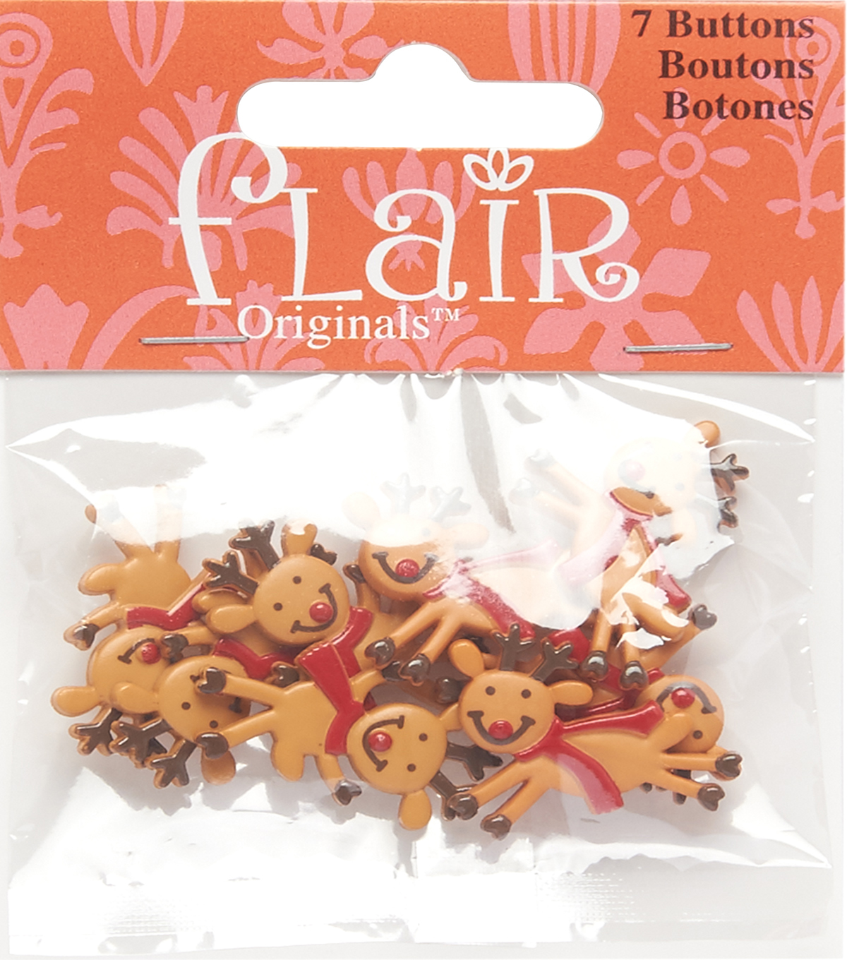 Flair Originals 7 pk 1\u0027\u0027 Fun Reindeer Buttons