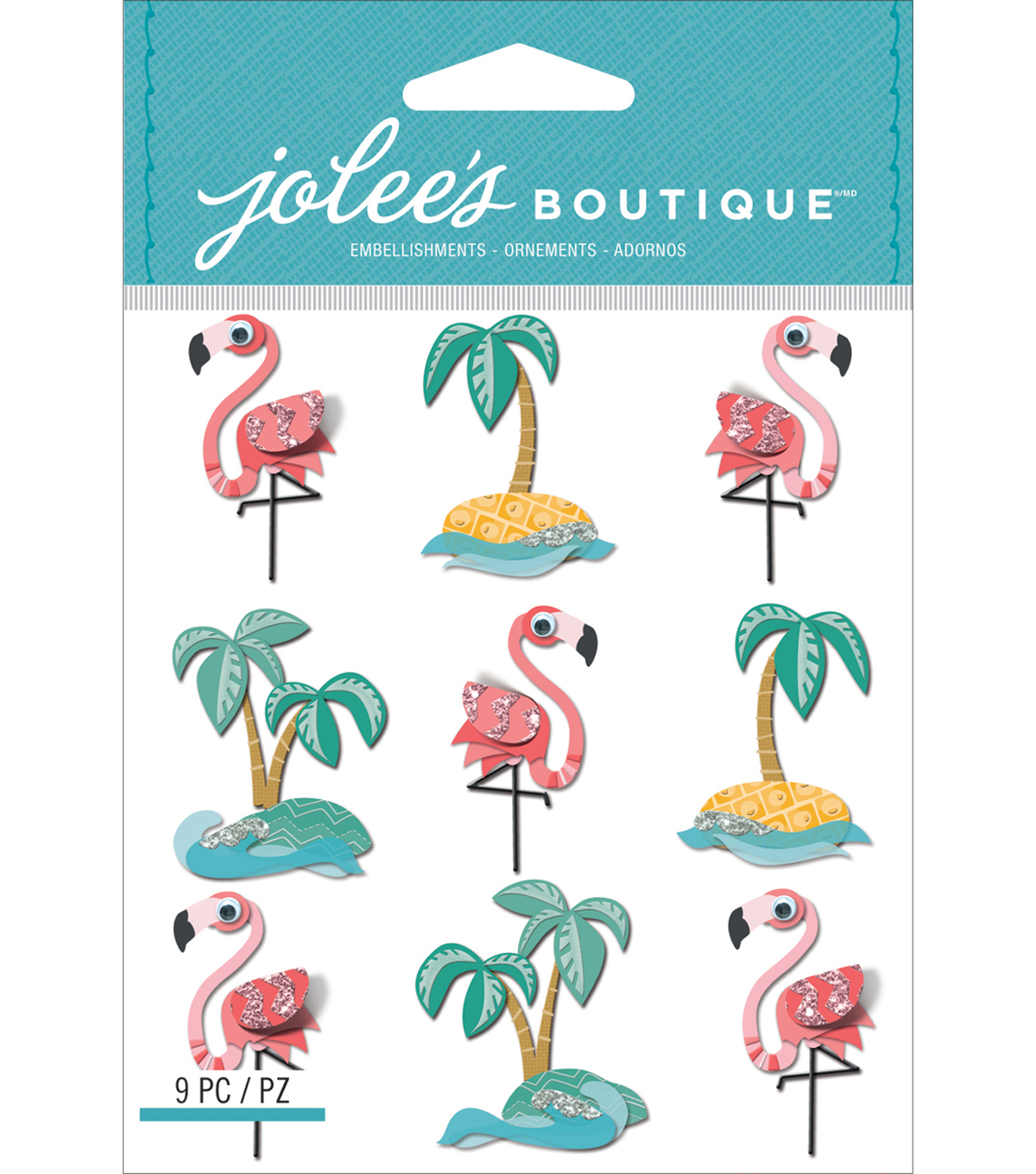 Jolee\u0027s Boutique Dimensional Stickers-Flamingos & Palm Trees