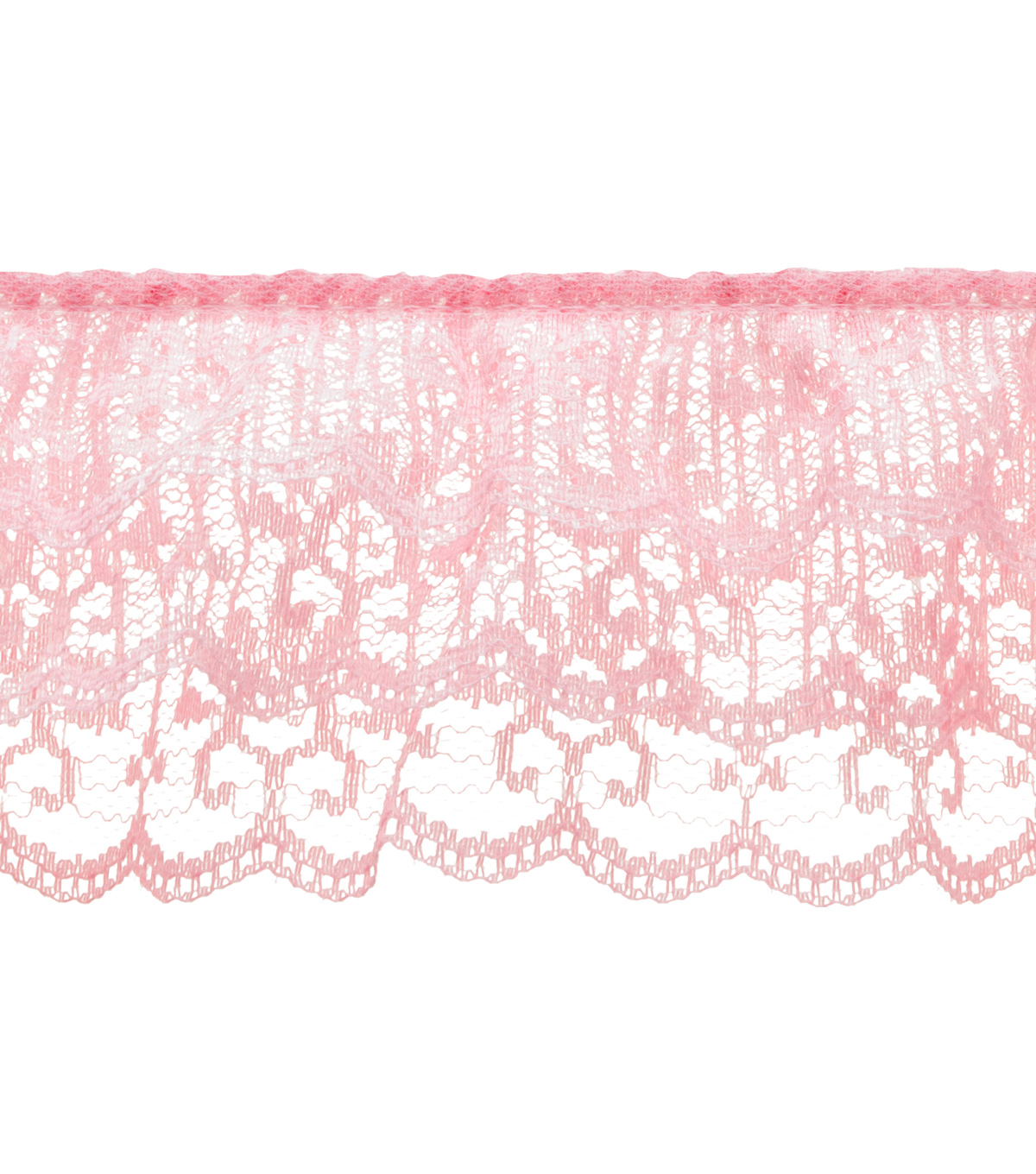 Simplicity Trims-Ruffled 3 Tier Lace Pink