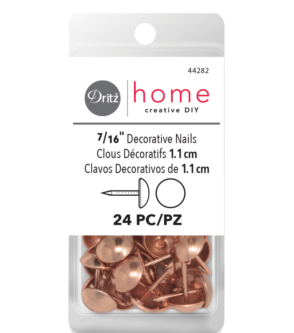 Dritz Decorative Nails 7/16\u0022 Rose Gold