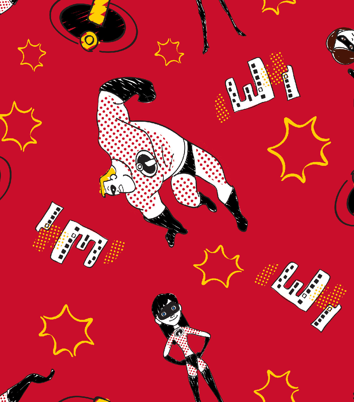 Disney Incredibles 2 Cotton Fabric -Family Toss