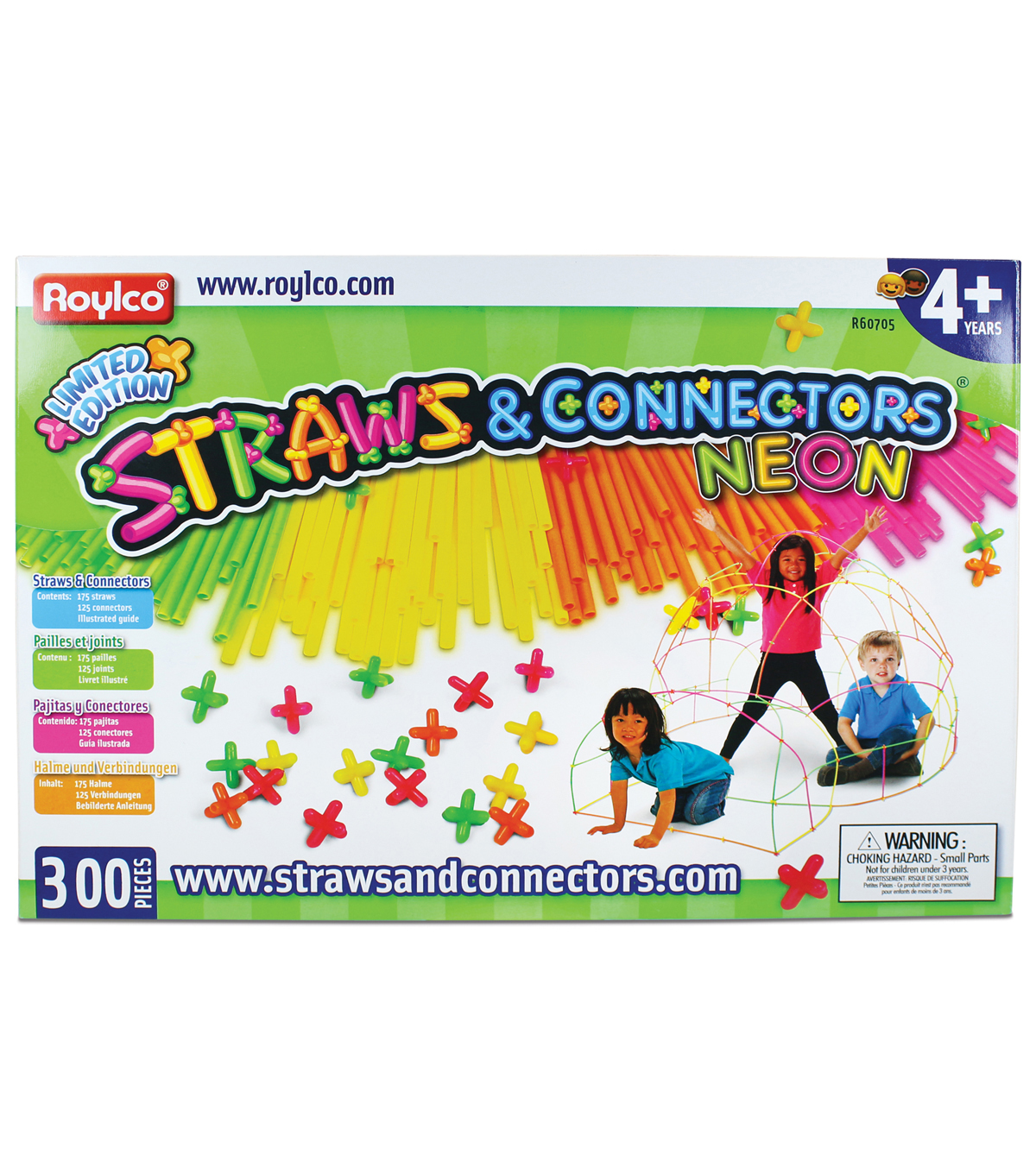 Straws & Connectors, 300 pieces, Neon colors