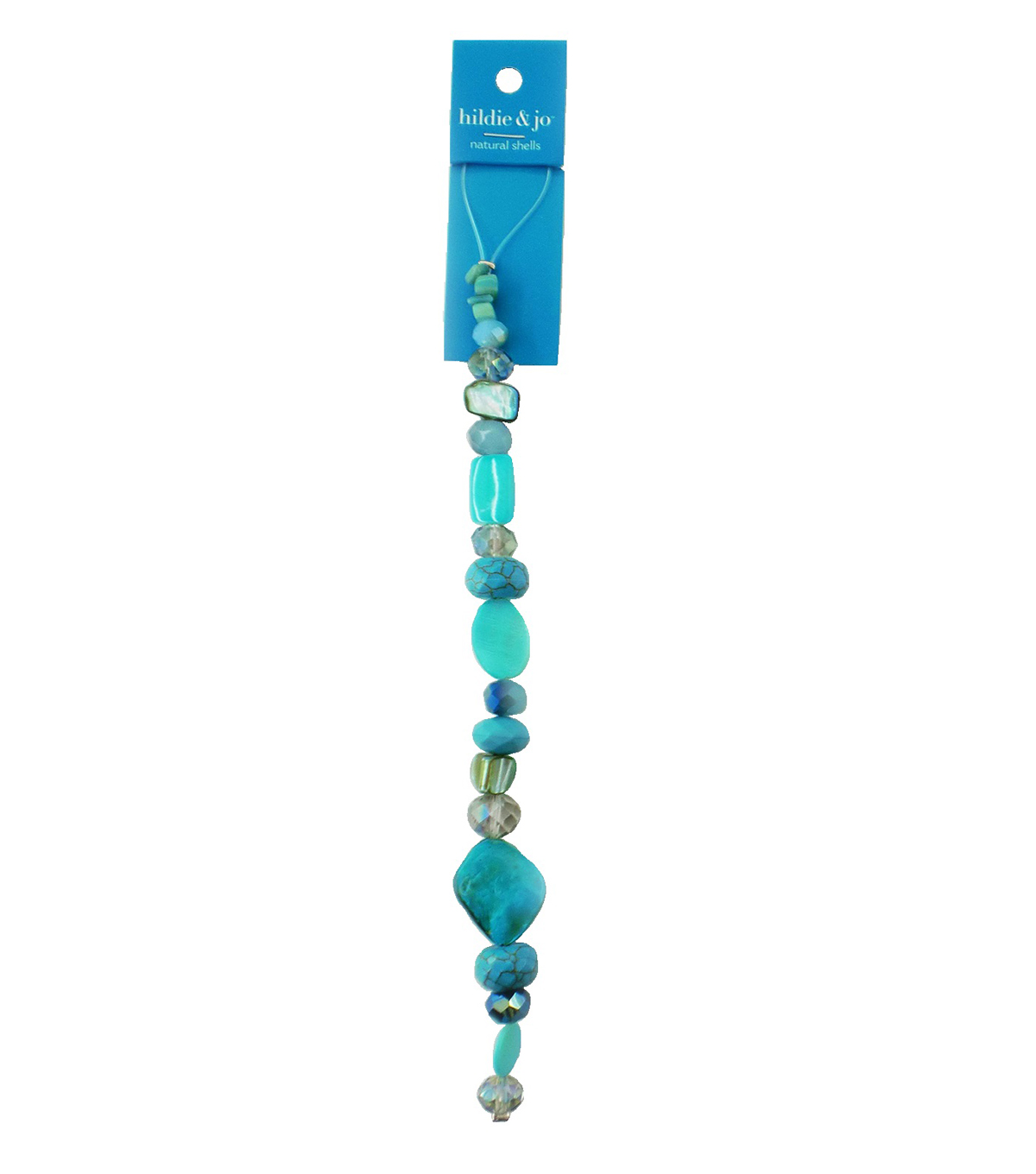 hildie & jo 7\u0027\u0027 Shell & Glass Beads Strand-Blue