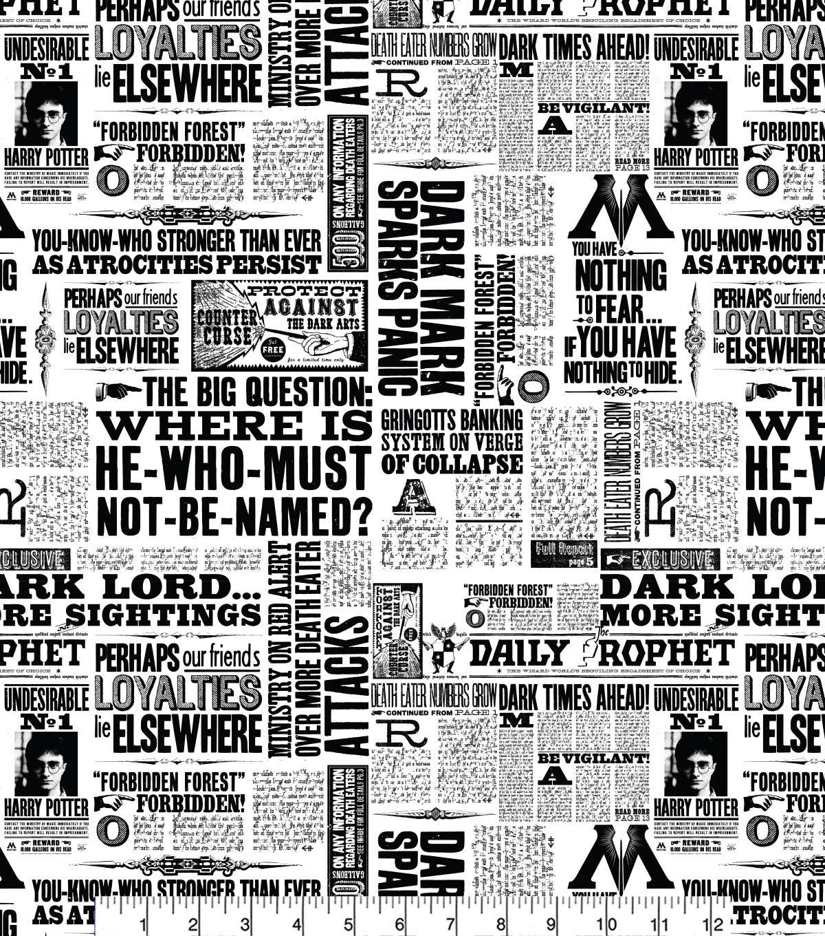 Harry Potter Cotton Fabric -Newspaper