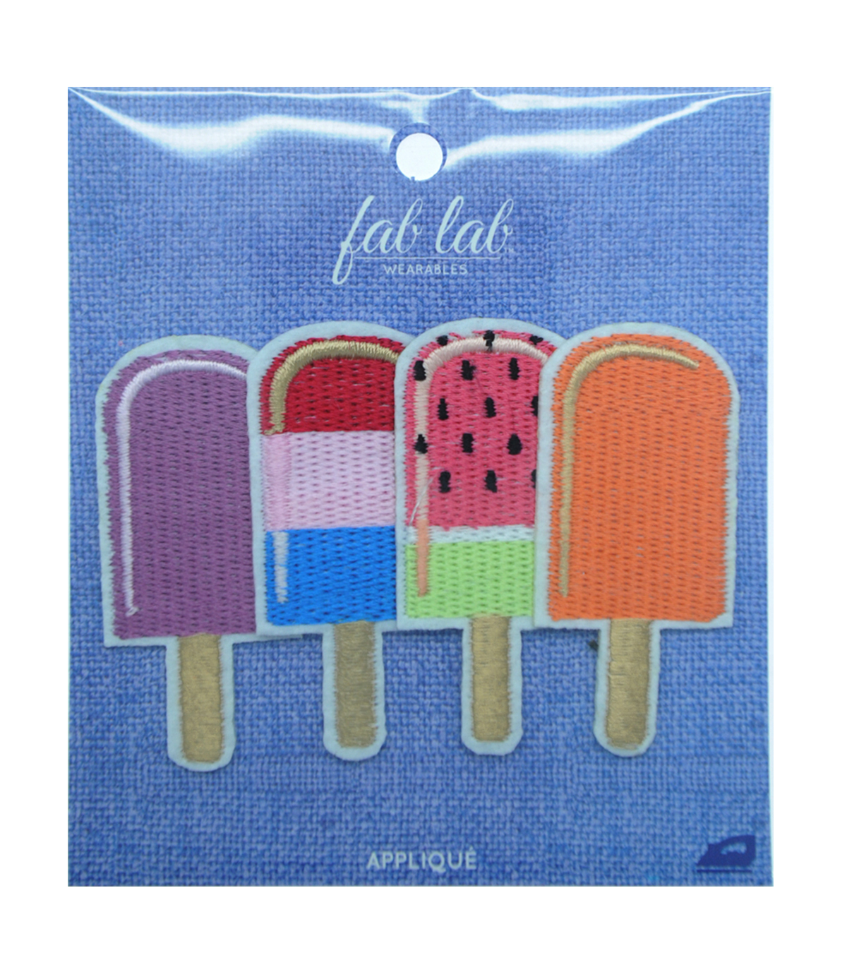 Fab Lab Wearables 4 pk Assorted Popsicle Iron-on Appliques