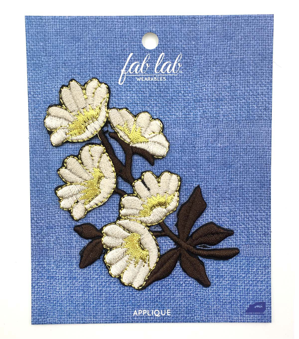 Fab Lab Wearables Flowers with Vines Iron-on Applique-Ivory