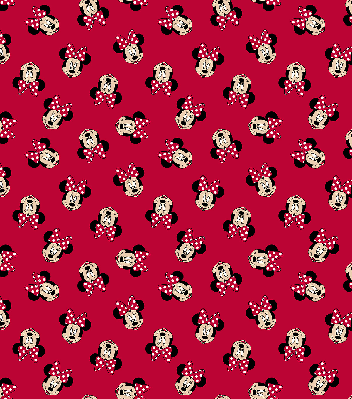 Disney Minnie Mouse Cotton Fabric -Tossed Minnie Heads