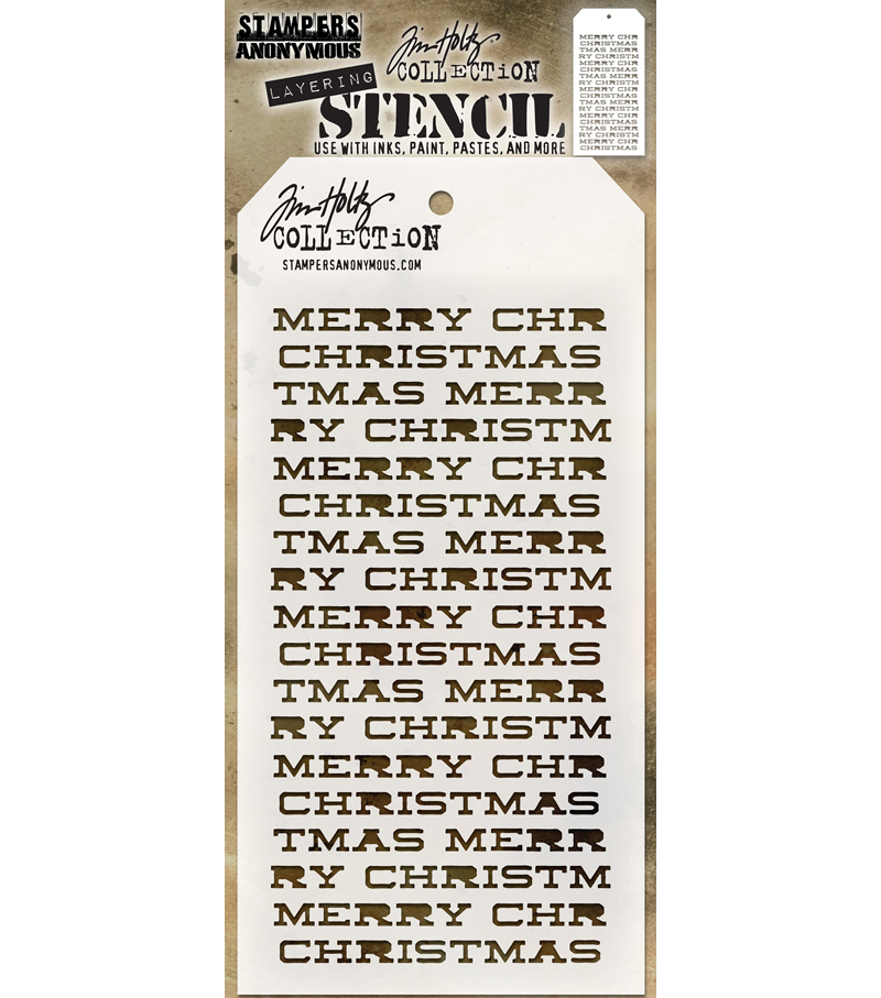 Stampers Anonymous Tim Holtz Layering Stencil-Merry Christmas