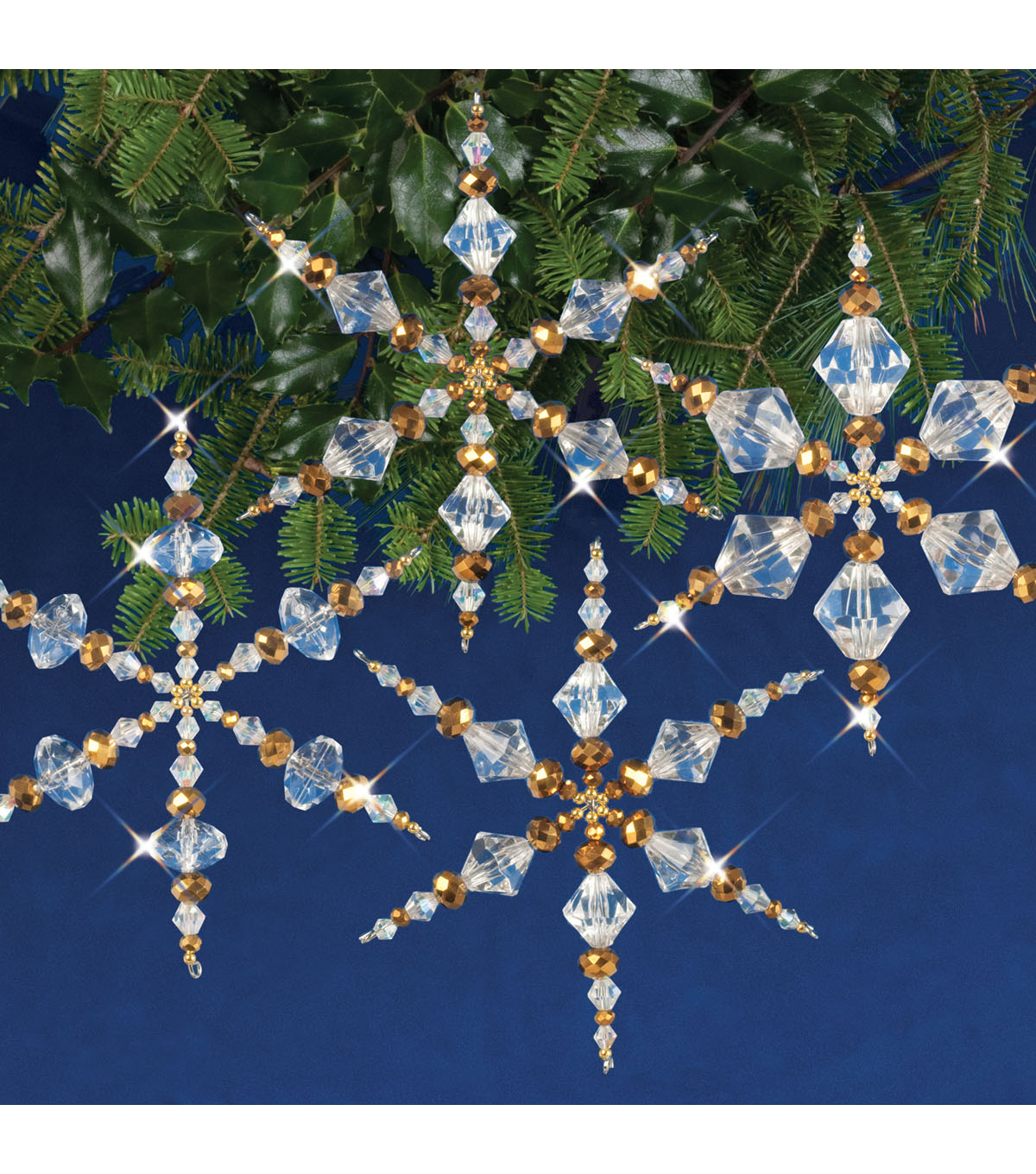 Solid Oak Nostalgic Christmas Beaded Crystal Snowflake Ornament Kit-Gold