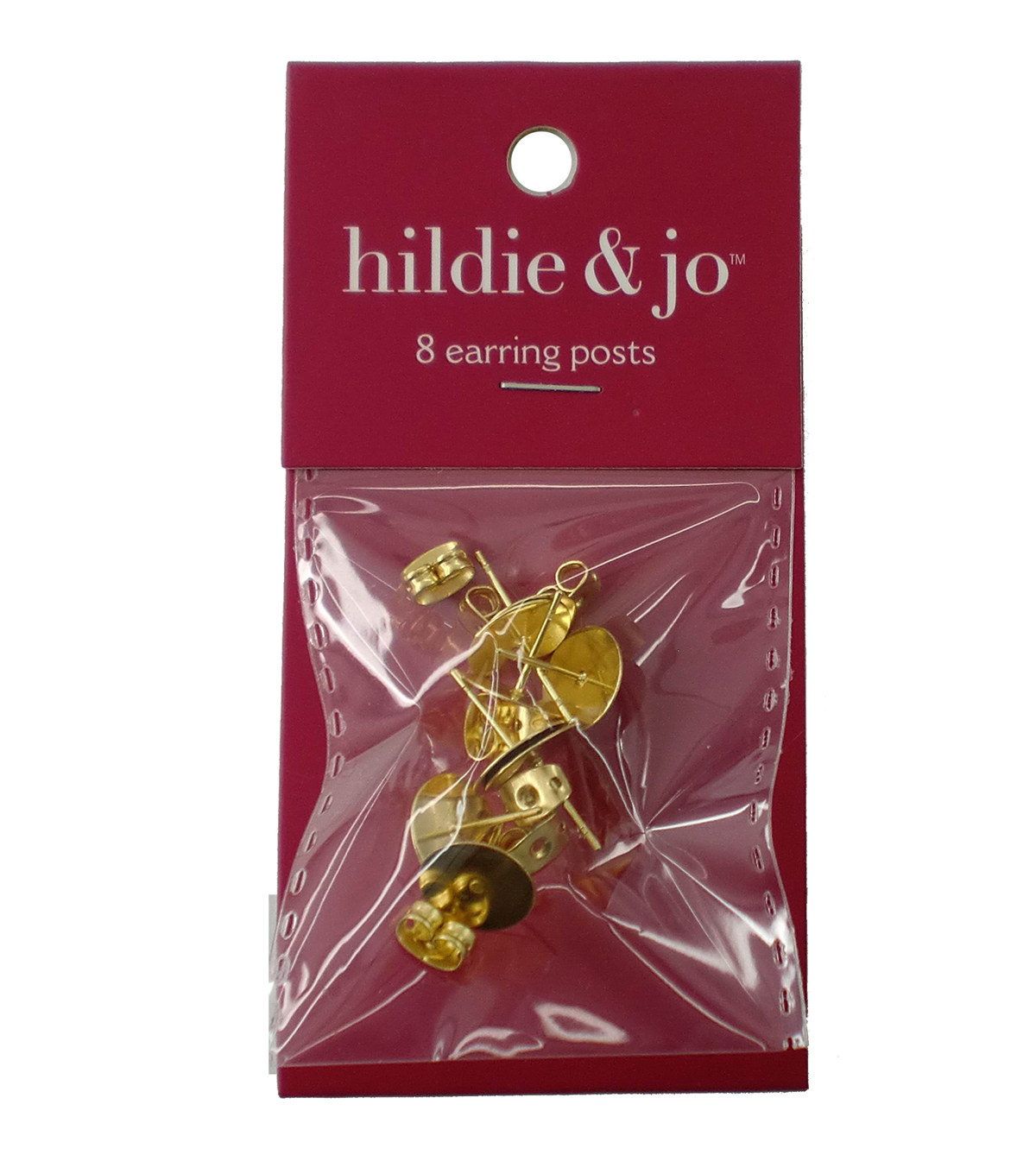 hildie & jo 8 Pack Gold Earring Posts with Earring Back