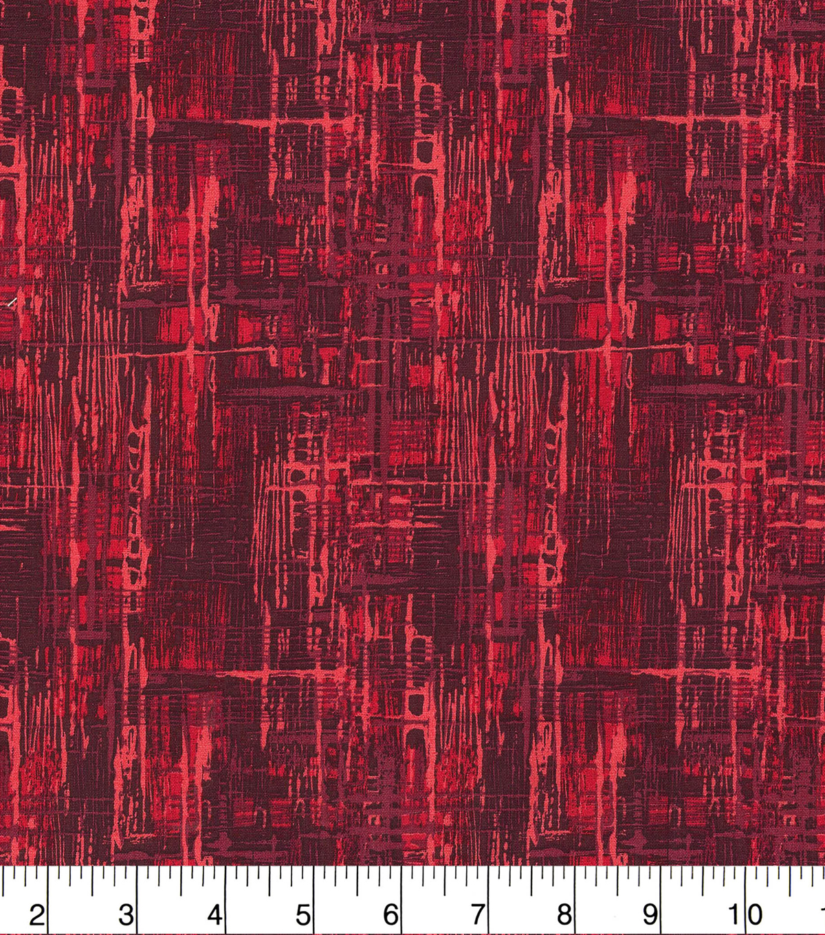Wide Cotton Fabric-Red Crosshatch