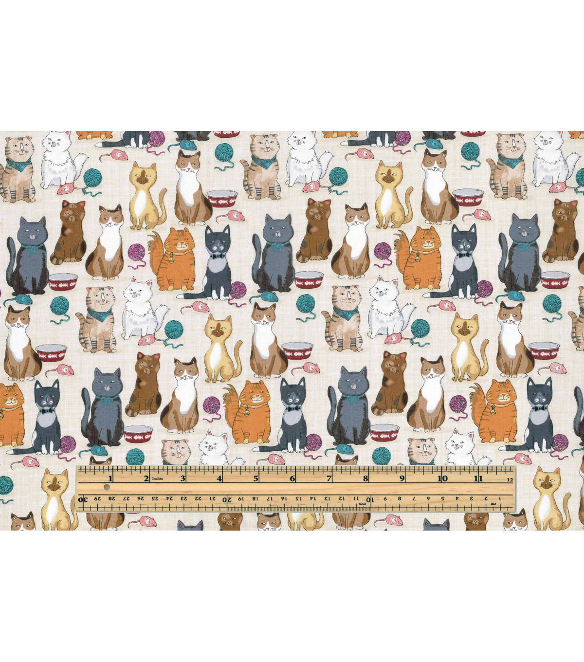 Novelty Cotton Fabric -Cats On Crosshatch