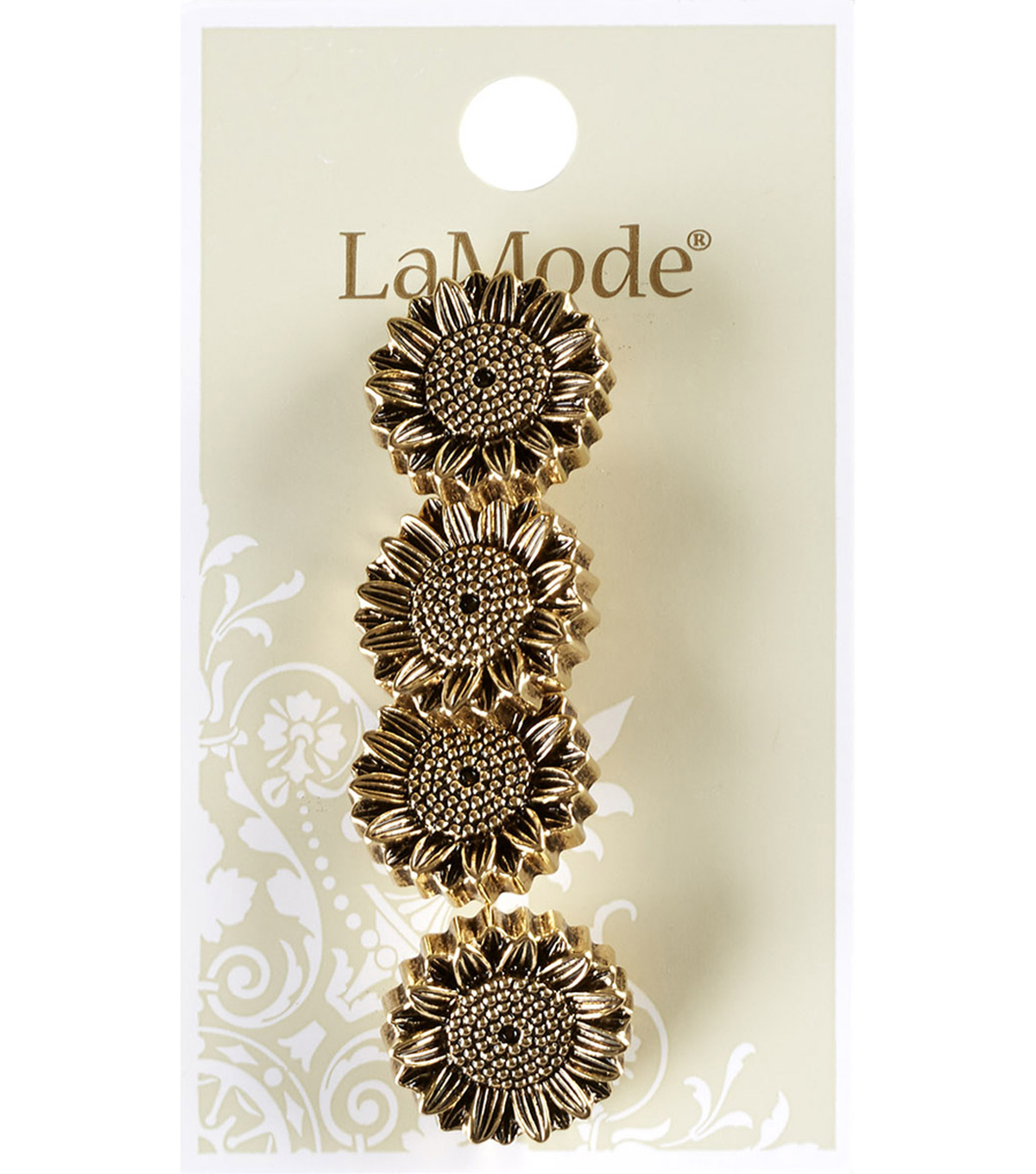 La Mode 4 pk 0.69\u0027\u0027 Sunflower Shank Buttons-Antique Gold