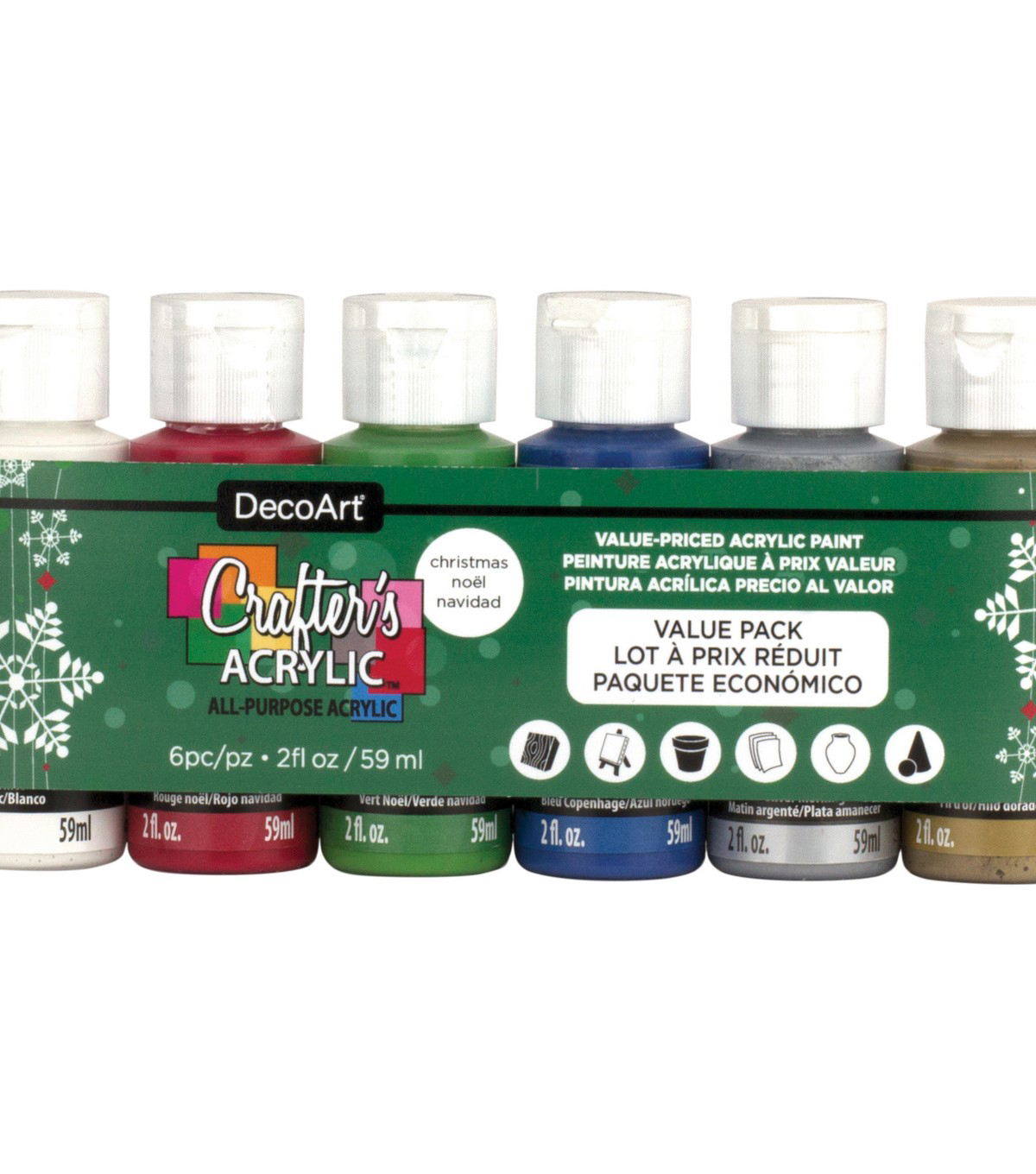 Crafter\u0027s Acrylics Value Pack 6/Pkg-Christmas