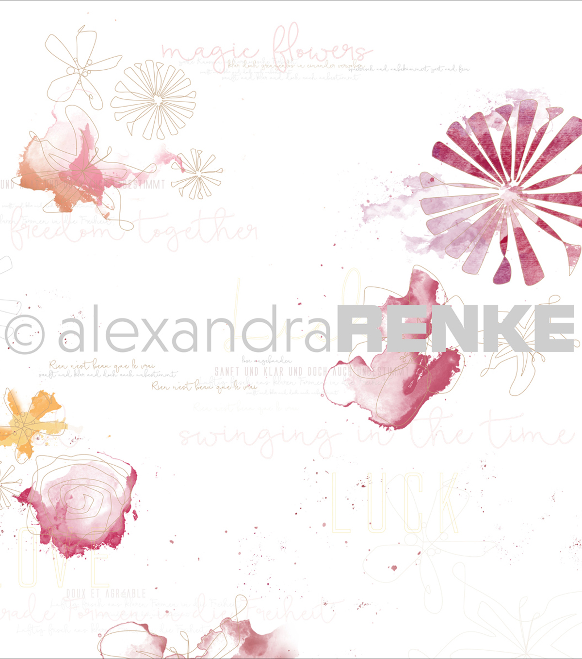 Alexandra Renke Magic Flowers Design Paper 12\u0022X12\u0022-Red Gold