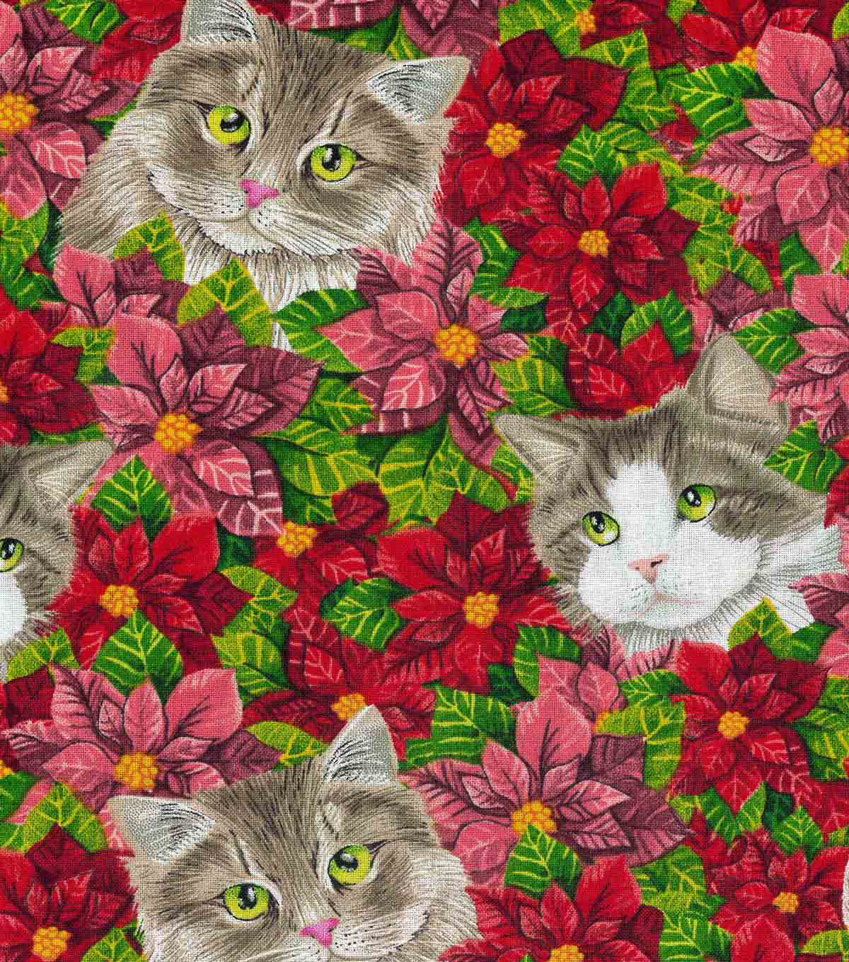 Christmas Cotton Fabric-Cats in Poinsettias