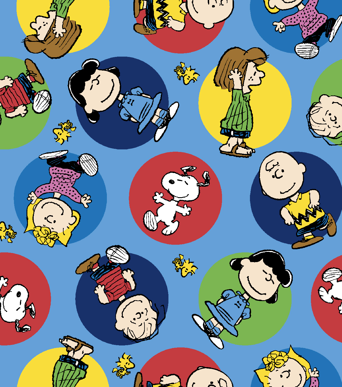 Peanuts Flannel Fabric-Colorful Badges
