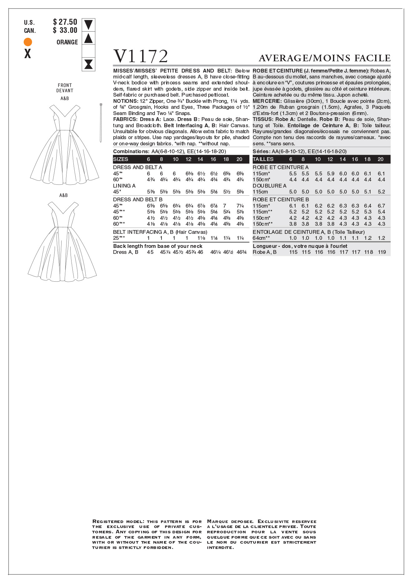 Vogue Patterns Misses Dress-V1172