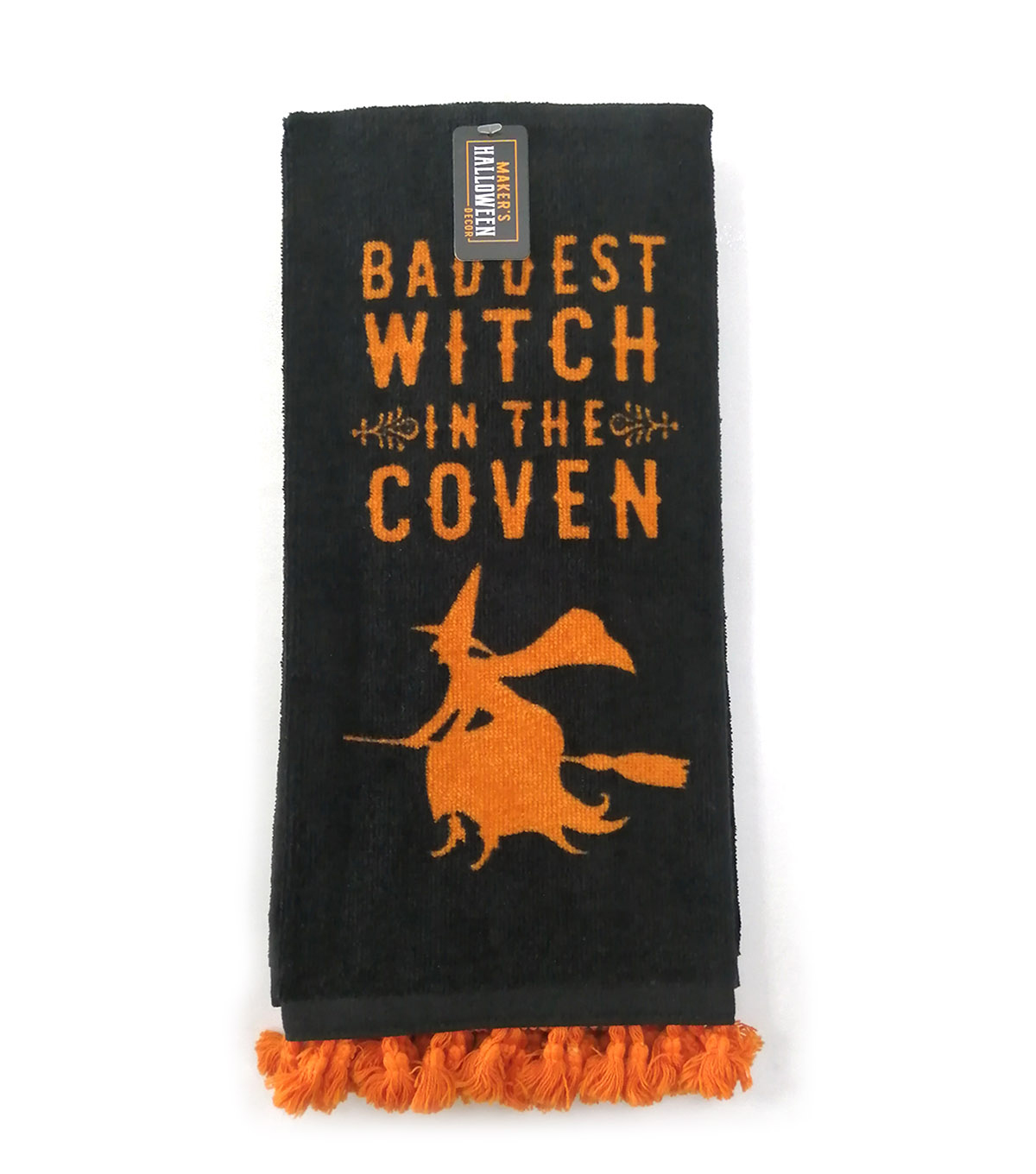 Maker\u0027s Halloween Decor Towel with Trim-Baddest Witch in the Coven