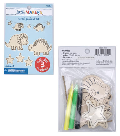 Little Makers Wood Garland Kit-Dinos & Stars
