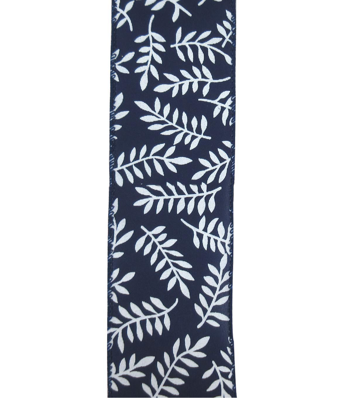 Save the Date 2.5\u0022 x 15ft Ribbon-White Fern On Navy