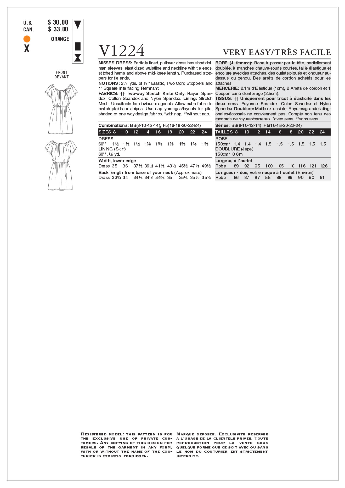 Mccall Pattern V1224 Bb (8-10-1-Vogue Pattern